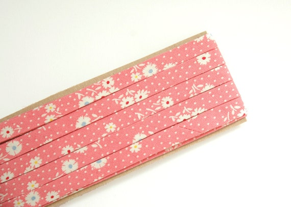 """LAST ONE: flowers and dots on pink - double fold, bias tape - 4 yards, 3/8"""" wide"""