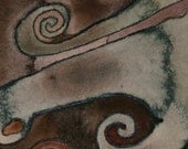Original watercolor painting.  ACEO.  Neutral colors, organic shapes.