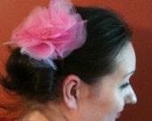 Adorable Tulle and Organza Fascinator with a Vintage Bead