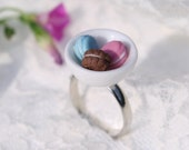 Adorable Tiny  Afternoon Tea Cake Food Macarons Ring Porcelain Dollhouse Miniature Jewelry gift