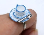 Miniature Ring Adorable Tiny Afternoon Tea Set Cup Porcelain Ring Blue Dot Dollhouse Miniature Jewelry
