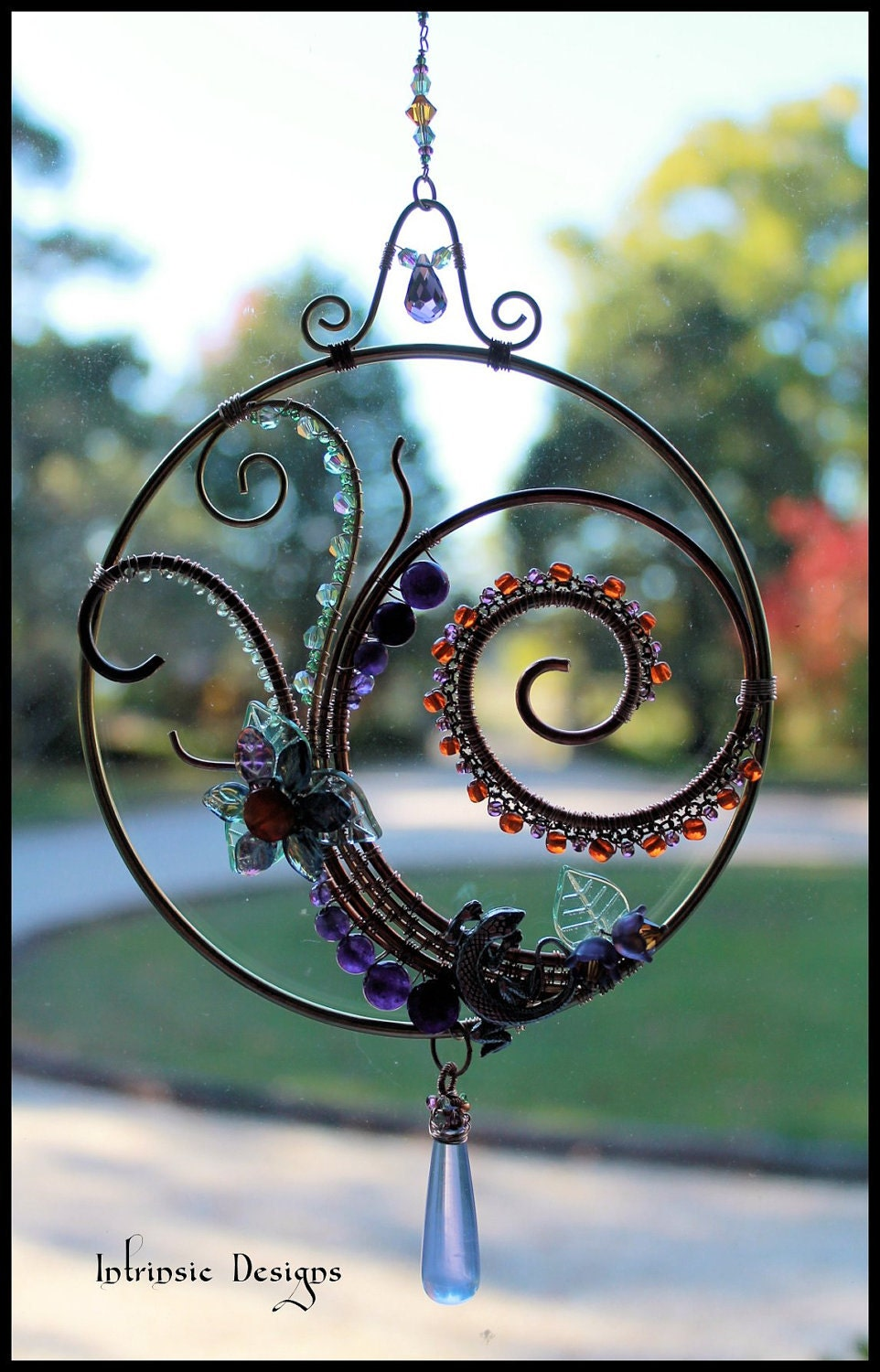 Gemstone And Crystal Swirl Suncatcher Window Decoration With