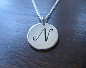N Initial Silver Pendant Necklace