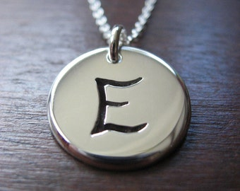 E Initial Silver Pendant Necklace