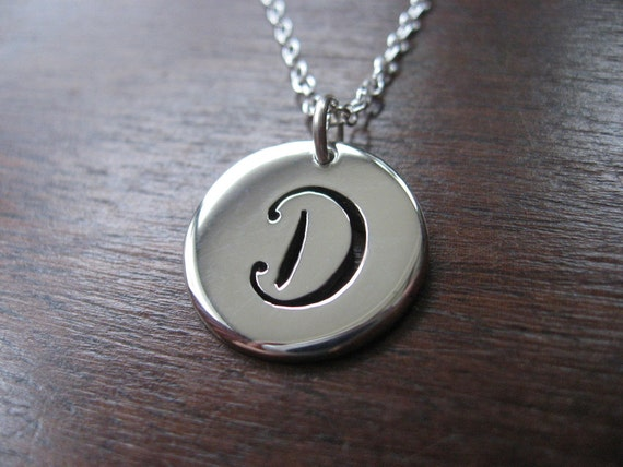 Letter D Initial Silver Pendant Necklace By Gorjessjewellery