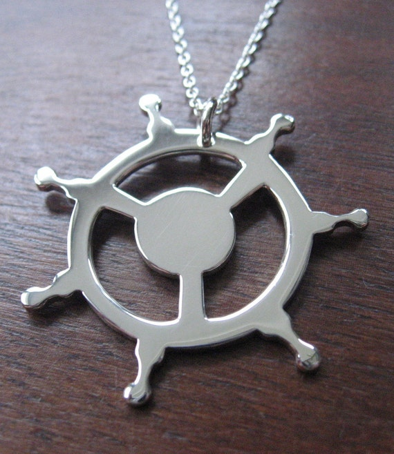 Ship's Helm Silver Necklace Pendant