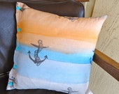Beachy Anchor Pillow Cover (pillow included) Hand Dyed & Printed Fabric in Bend, Oregon