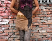 Fringed Suede Leather Super Mini Wrap Skirt - Yellow Beige / Tan Color, Hippie, Psy Ethnic Style