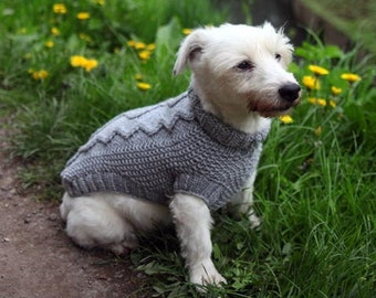 100% merino wool - Cable knit sweater, grey dog coat - hand knit sweater - Yorkie, Cairn, Westie, Chihuahua, Spaniel, Poodle - custom made