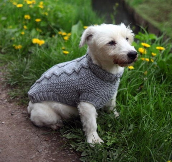 Hand Knitted Patterns For Dog And Cats Coats : dog coat dog sweater hand knit in cable pattern 14 inch length