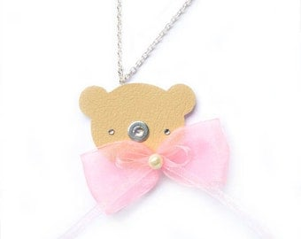 TEDDY BEAR NECKLACE with pearl