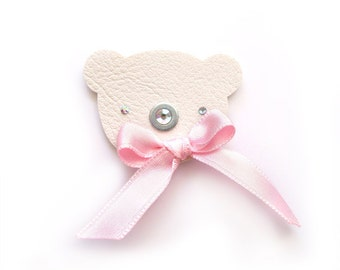TEDDY BEAR BROOCH with romantic pastel pink bow