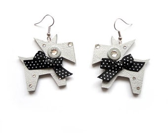 EARRINGS with SILVER DOGS with black polka dot bows