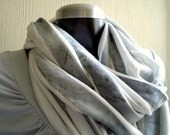 Circle scarf. Unisex Infinity scarf, cowl, spring scarf, washed grey cotton jersey, light and cozy, wide.