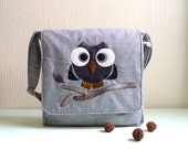 Messenger bag.Unisex. Tweed wool, Owl Applique.Rocko. Ready To Ship.