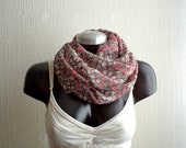 Infinity scarf, Gauze in floral print, brown and pink,lightweigh. Gift for her. wife gift.