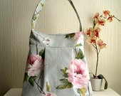 SALE. Vegan Pleated tote bag,shoulder bag, peonies pattern cotton canvas.READY To SHIP.