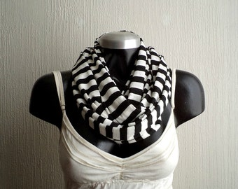 Striped Infinity scarf, in black and white jersey knit, light and cozy.Nautical stripe
