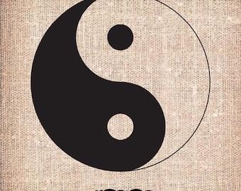 Yin and Yang - Positive - Negative - Image Download Sheet Transfer to Fabric / Pillow / Burlap / Digital Clip Art by Nahhan73 (PG-020)
