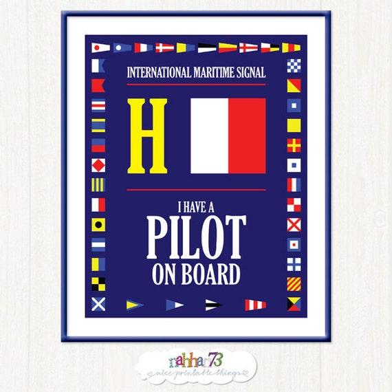 Letter H - International Maritime Code Signal Flag - Pilot on Board  - Printable Digital Wall Art  - 8.5 x 11 by Nahhan73 (MS-008)