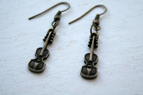 Violin Earrings Cute Earrings Bronze Earrings