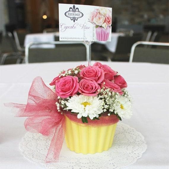 Cupcake vase centerpiece flowers birthday christening