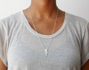 Silver tribal tassel fringe modern sterling silver chain necklace