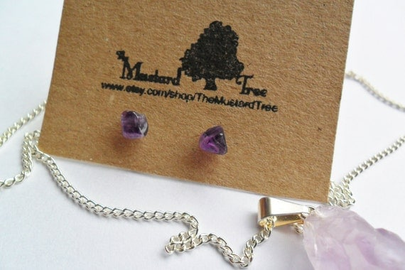 Smooth small amethyst gemstone chip earrings