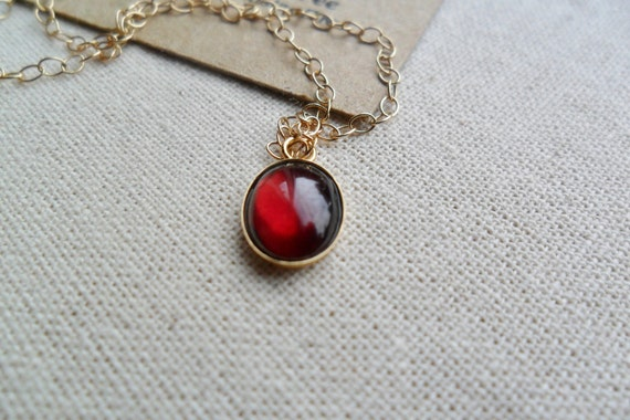 Purple red garnet gemstone small pendant charm necklace 14ct gold filled chain