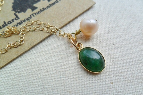 Green aventurine gemstone pendant and champagne pearl charm 14ct gold filled necklace