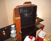 Vintage upcycled  Suitcase with chalkboard and magnetic dry erase board. (READY TO SHIP)