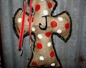 Burlap Door Hanger, Home Decor, Initial, Cross, Handmade, Hanging Cross,