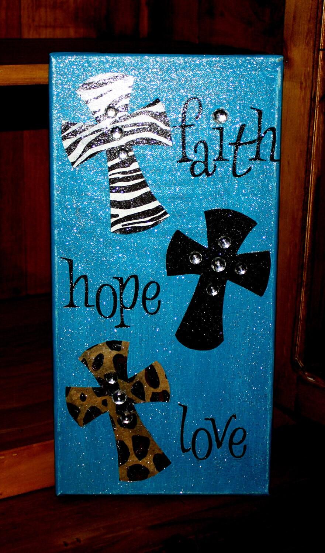 Items similar to faith hope love 7x14 canvas home decor for Faith decor