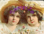 Digital Download-Vintage  small print of two lovely sisters
