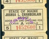 Digital Download-Vintage Clipart-3 Tickets of Joshua L.Chamberlain Bridge in Maine