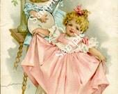 Digital Download-Beautiful Esty Organ Co. Tradecard-Little Girls, Banjo, Dancing