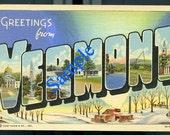 TREASURY ITEM-Digital Download-Vintage linen Greetings From Vermont postcard
