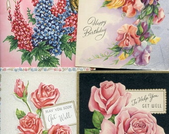 Wonderful Vintage Lot of 4 Floral Greeting Cards from long ago