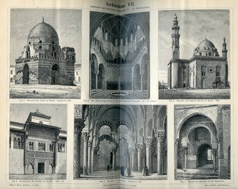 1894 Book Print of Moslem Architecture from German Lexicon
