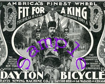 Digital Download-Fit For a King-Czar Nicholas II vintage ad for Dayton Bicycles