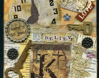 Handmade Mixed Media Collage by Lolly -Heres To You