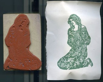 Rubber Stamp-Medieval Maiden Praying-Handmade Wood Mount