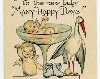 Digital Download-Vintage Postcard-Many Happy Days