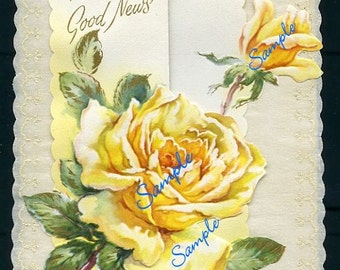 Digital Download-Vintage Get Well Card with Yellow Roses