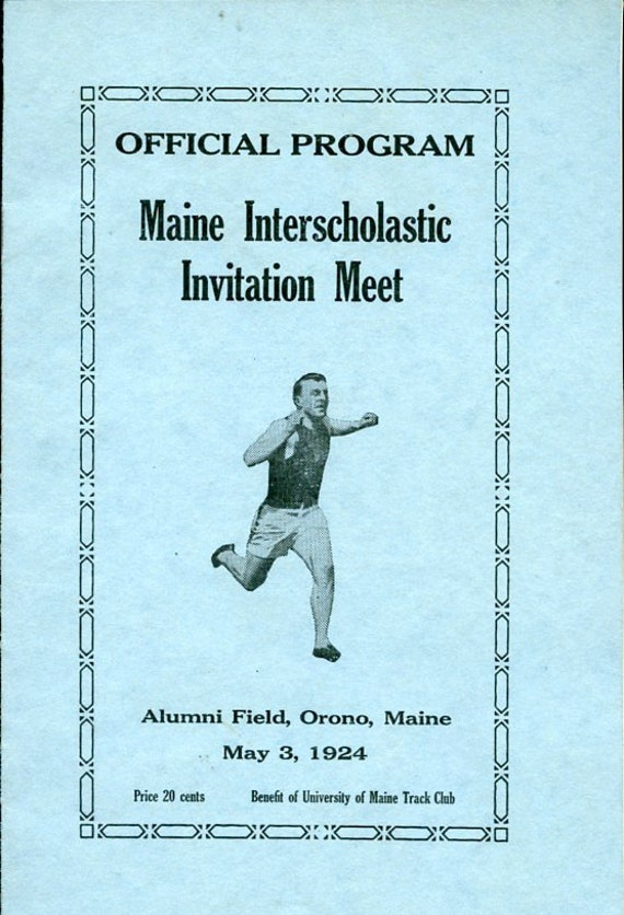 Lot of 3 Vintage Track Meet Items from University of Maine 1924