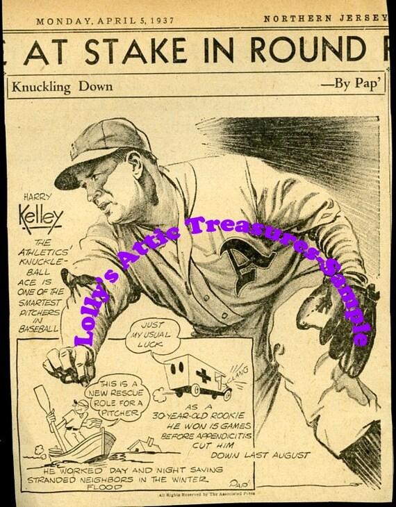 1937 Newspaper Cartoon-Baseball-Harry Kelley of the Athletics