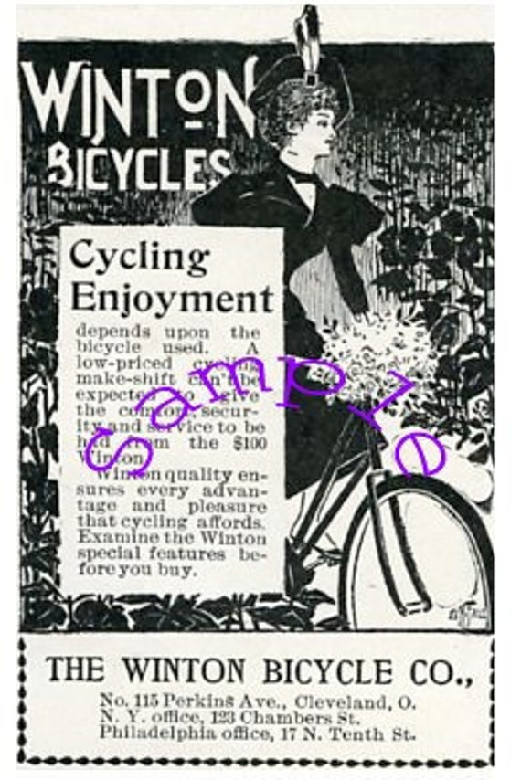 Digital Download-Clipart Ad-Winton Bicycles in Art Nouveau style
