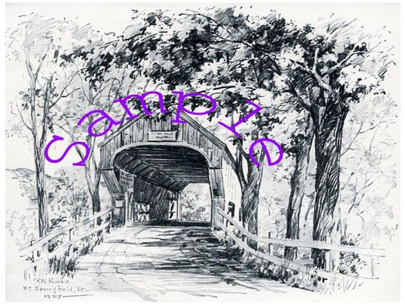 Digital Download-Vintage Clipart drawing of Vermont Covered Bridge