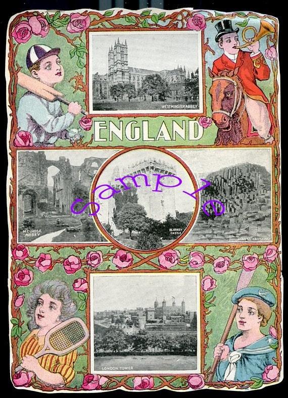 Digital Download-Vintage color print of England scenes-Unique