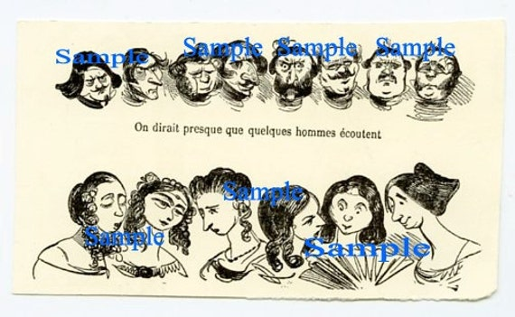 Digital Download-Clipart Drawing-French Men and Women caricatures